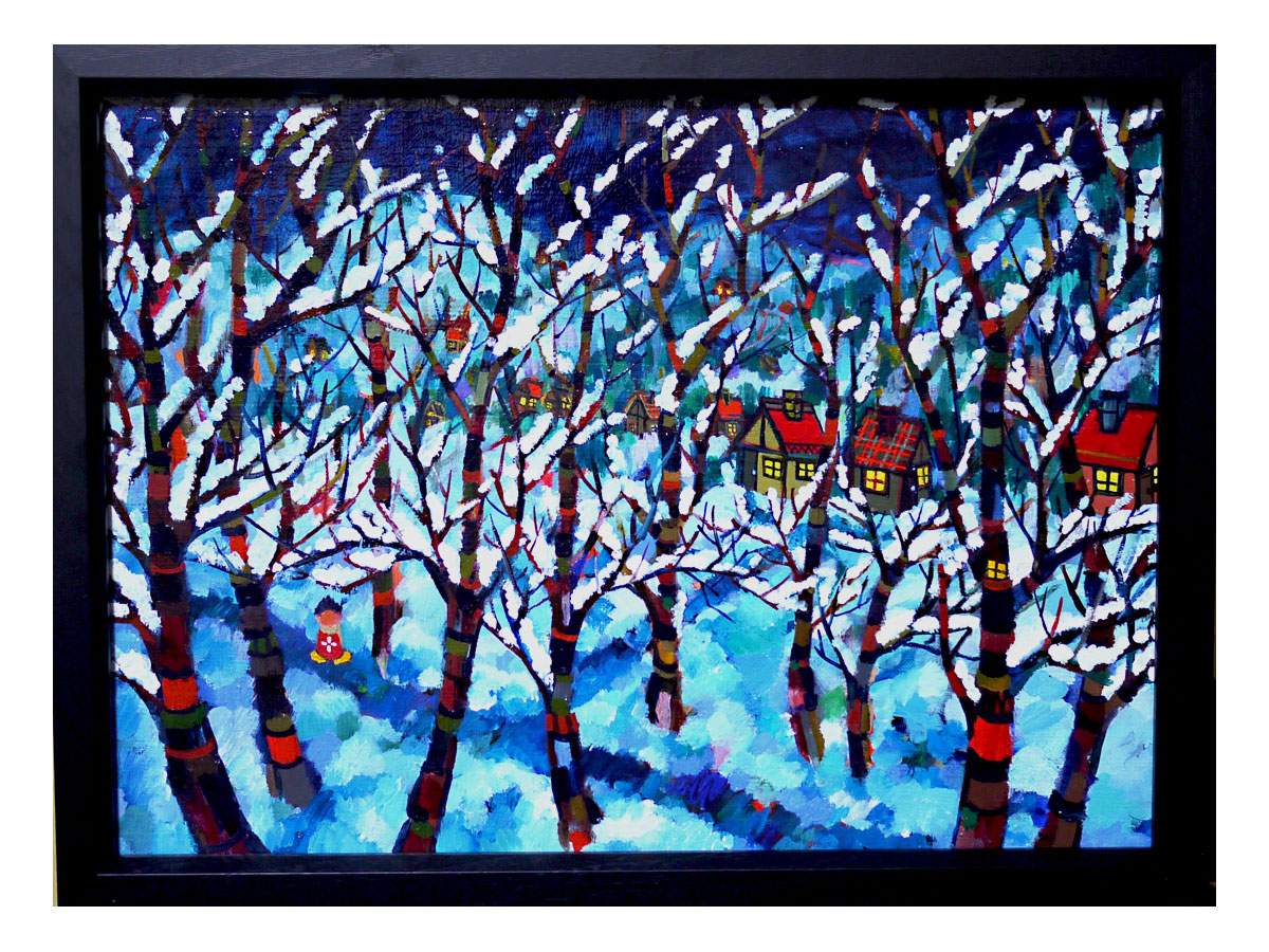 油彩画/雪のよる