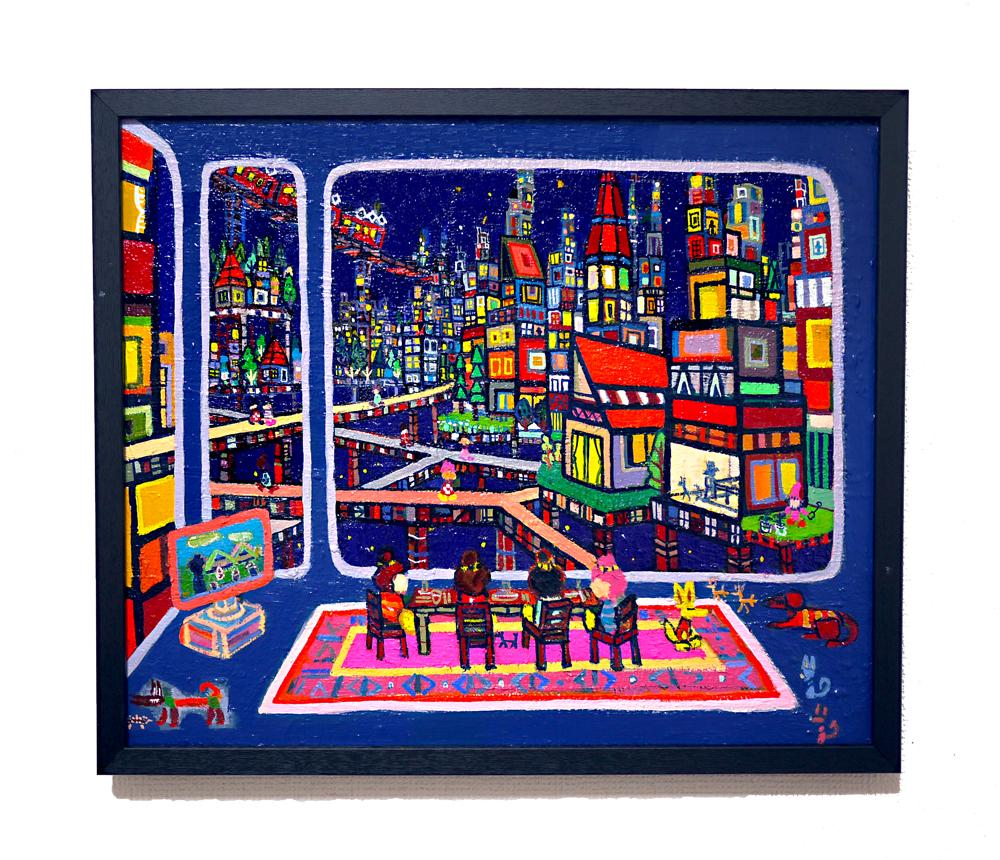 SOLD   リビングルーム   油彩 x キャンバスボード   38 x 45 cm   2020   求龍堂 #現代アート