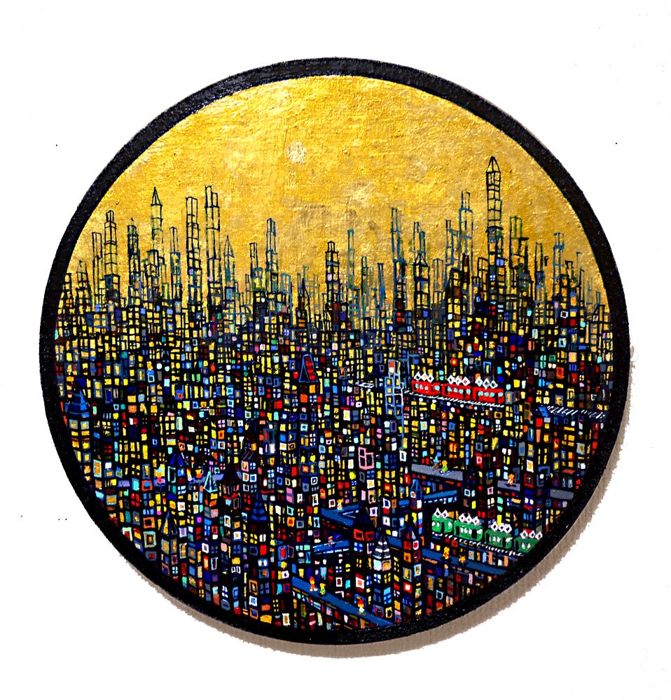 NOW ON SALE   ゴールドタウン   油彩 x キャンバス   直径 33cm   2020   求龍堂 #現代アート