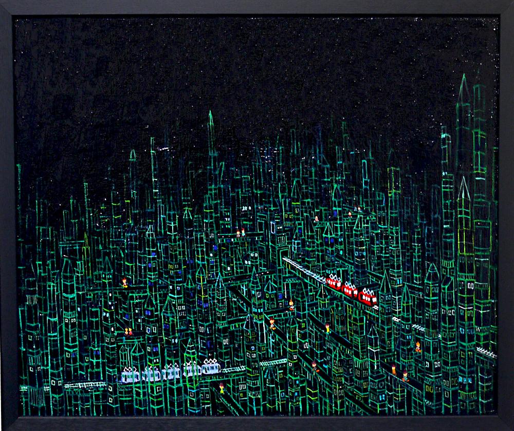 SOLD   プリズムタウン   ブラック   38 x 45 cm   油彩 x キャンバスボード   2019    TAGBOAT  #現代アート