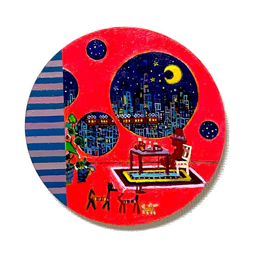 ON SALE   リビングルーム   油彩 x キャンバス   直径 27cm   2020   求龍堂 #現代アート