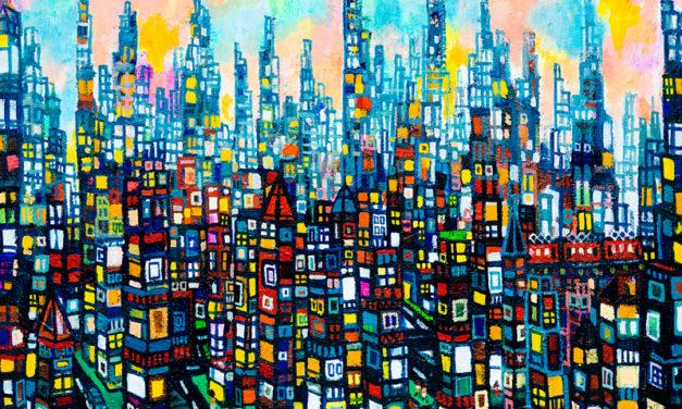 夜明けのまち   油彩 x 木製パネル   38 x 45 cm   2020 #現代アート