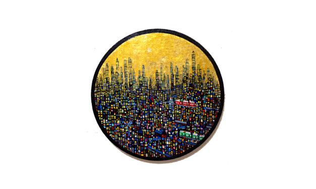 ON SALE   ゴールドタウン   油彩 x キャンバス   直径33 cm   2020   求龍堂 #現代アート