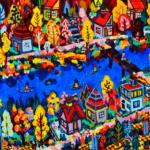 秋のまち   油彩 x 木製パネル   38 x 45cm   2021 #絵画