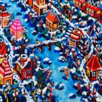 雪のまち   油彩 x 木製パネル   38 x 45cm   2021 #絵画
