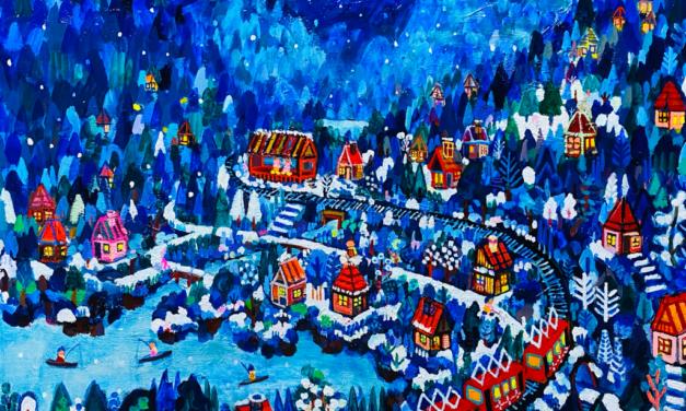 NEW   冬のまち   油彩 x 木製パネル   53 x 65cm   2021 #絵画